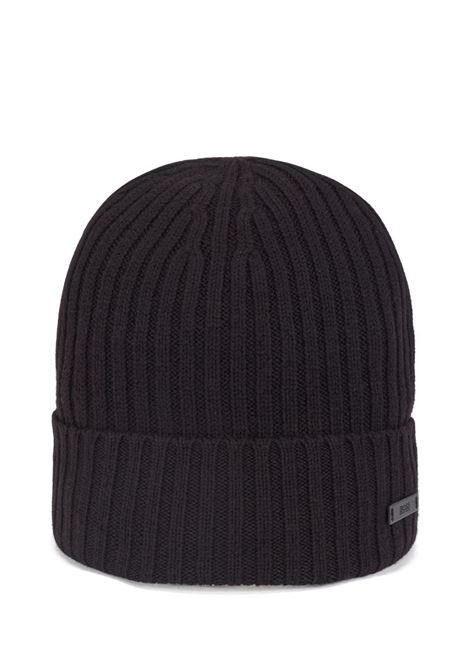 Ribbed hat in virgin wool with logo plate BOSS | Hats | 50435354001