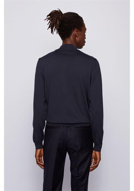 Cardigan con zip in lana vergine italiana con logo ricamato BOSS | Maglieria | 50435451402