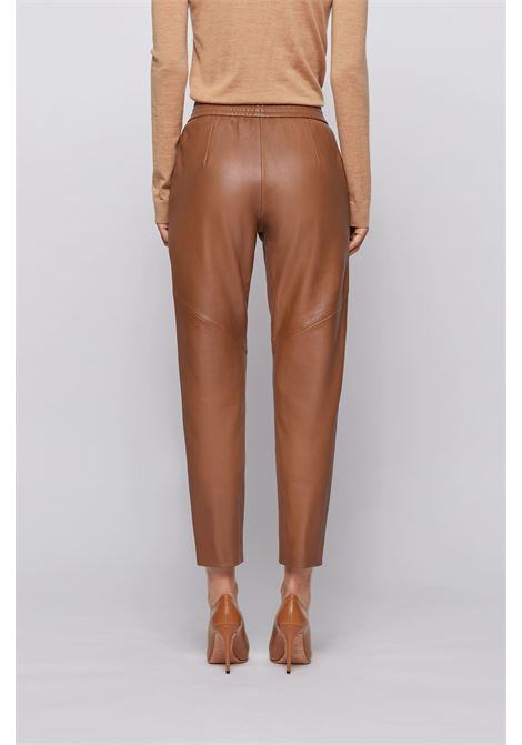 Regular-fit cropped pants in plongé leather BOSS | Trousers | 50436074236