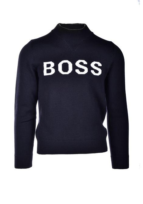 Maglione in lana vergine con logo ricamato BOSS | Maglie | 50436627001