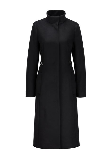 Virgin wool blend coat with belt with metal details BOSS | Coat | 50437842001
