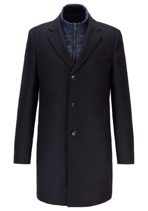 Slim fit coat in wool blend with removable bib BOSS | Coat | 50438654402
