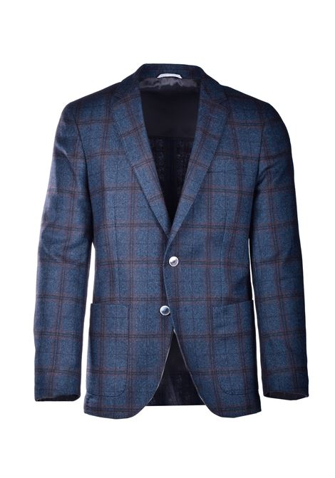 Blue and brown check wool jacket BOSS | Blazers | 50438688402
