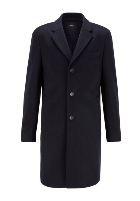 Neye Cappotto slim fit in lana vergine e cachmere - blu scuro BOSS | Cappotti | 50438689402