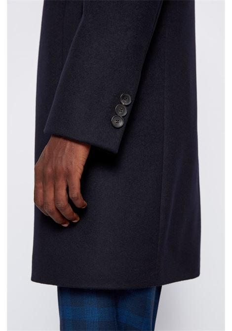 Neye Slim fit coat in virgin wool and cachmere - dark blue BOSS | Coat | 50438689402