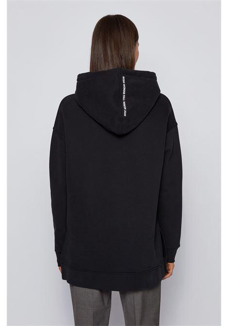 Felpa nera con cappuccio in misto cotone con stampa BOSS | Maglieria | 50439401001