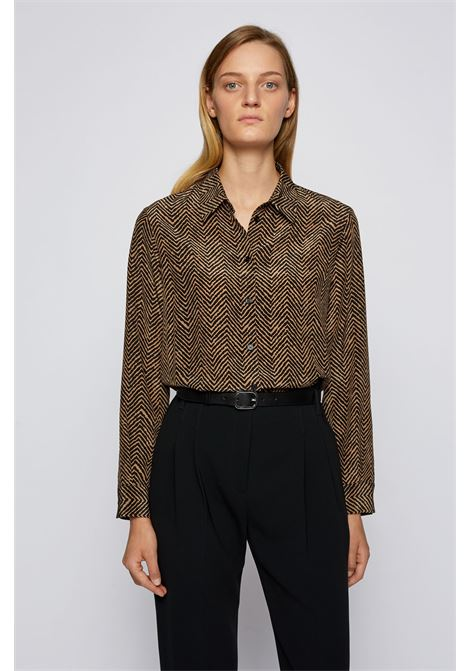 Regular fit silk blouse with herringbone print BOSS | Blouse | 50440907960