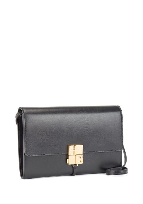 Shoulder bag in black leather with gold buckle BOSS | Cross body bags | 50441836001