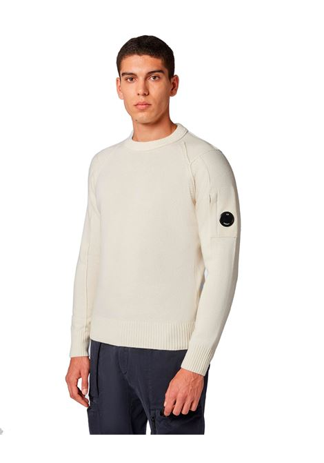 White lambswool crewneck sweater