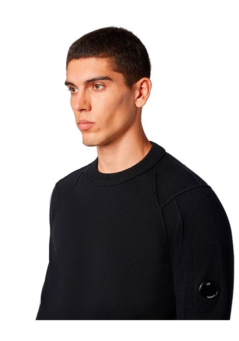 Black lambswool crewneck sweater C.P. COMPANY | Knitwear | 09CMKN111A005504A999