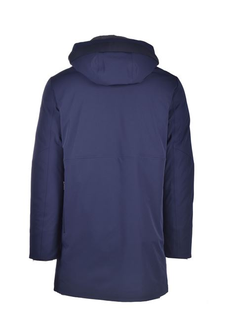 Blue padded parka with internal shoulder strap DUNO | Overcoat | PLANET801