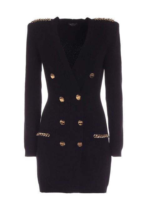 Short black knit dress with gold buttons ELISABETTA FRANCHI | Dresses | AM24S06E2110