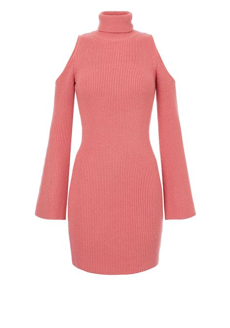 Knitted sheath dress with peony pink porthole neckline ELISABETTA FRANCHI | Dresses | AM25S06E2D89