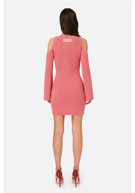 Knitted sheath dress with peony pink porthole neckline ELISABETTA FRANCHI | Dresses | AM25S06E2D89