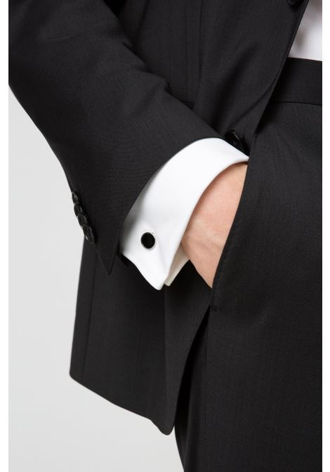 Round cufflinks with enamel detail - black HUGO | Cuff Links | 50316087001