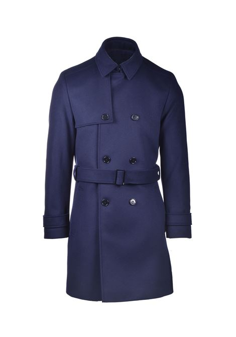 Dark blue virgin wool trench coat HUGO | Coat | 50435595405