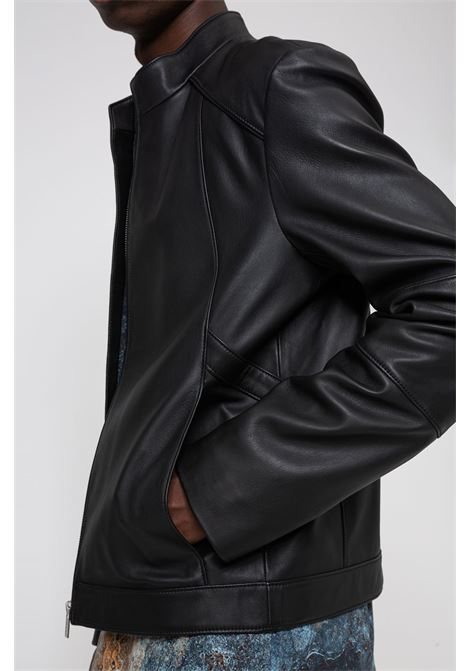 Extra slim fit nappa leather jacket with placket HUGO | Jackets | 50437190001