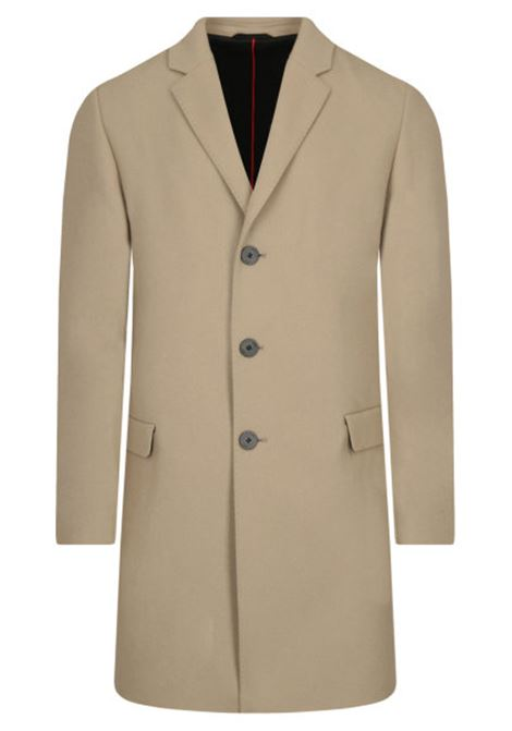 Tailored coat in beige wool blend HUGO | Coat | 50438378238