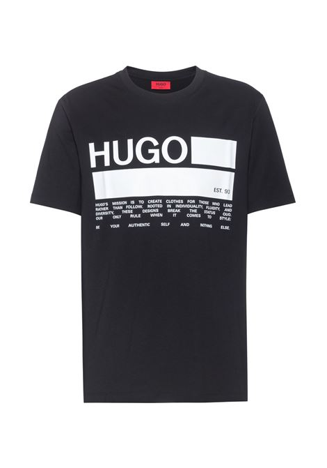 Dangri T-shirt with African cotton brand poster print HUGO | T-shirts | 50438623001
