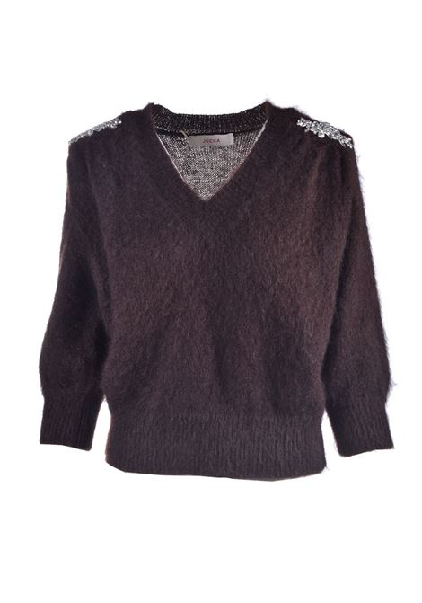 Sweater with jeweled shoulder pads in mohair bark JUCCA | Knitwear | J3211124129