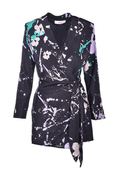 Abito kimono corto in seta nera fantasia JUCCA | Vestiti | J3217056272