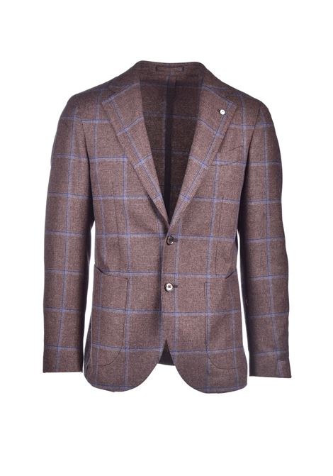 Blazer in virgin wool with brown and turquoise checks L.B.M. | Blazers | 021921