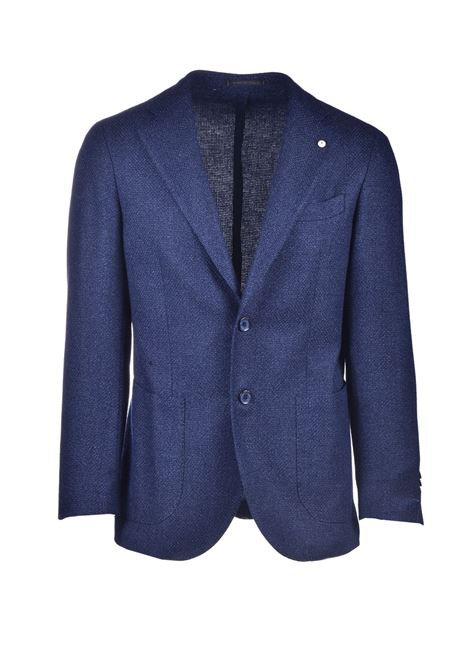 Blazer in fresco lana a trama intrecciata blu L.B.M. | Giacche | 021982
