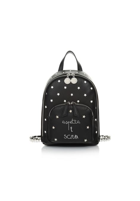 Rounded backpack with zip and black stars LE PANDORINE | Backpack | DAC02592-04STAR BLACK