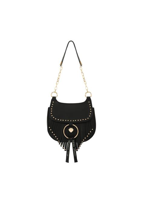 Black mini-bag with gold chain and fringes LE PANDORINE | Mini Bags | DAD02593-01BLACK