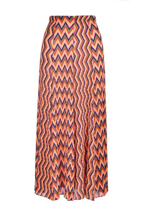 Long pleated skirt in crepe with zig zag texture M MISSONI | Skirts | 2DH00137/2W004XSM22J