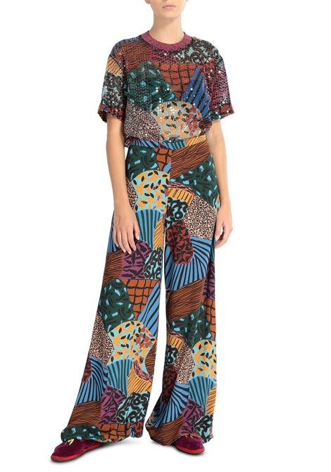 Patchwork print palazzo trousers M MISSONI | Trousers | 2DI00228/2W0063S70MH