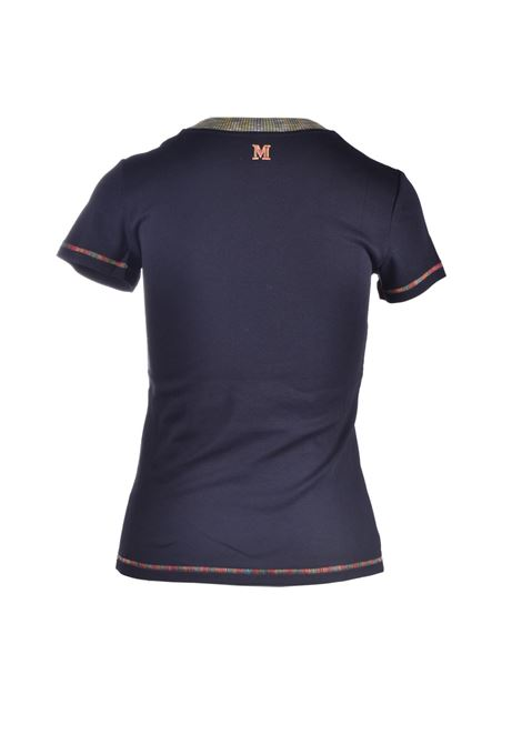 T-shirt nera con dettagli multicolor M MISSONI | Top & T-shirt | 2DL00054/2J002U93911