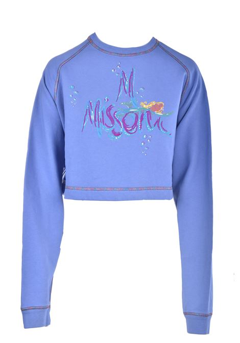 Short indigo sweatshirt with mermaids M MISSONI | Sweatshirt | 2DN00250/2J003Y73940