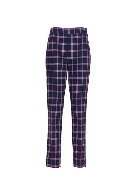 Pink and blue check cigarette trousers MANILA GRACE   Trousers   P106CQMD905
