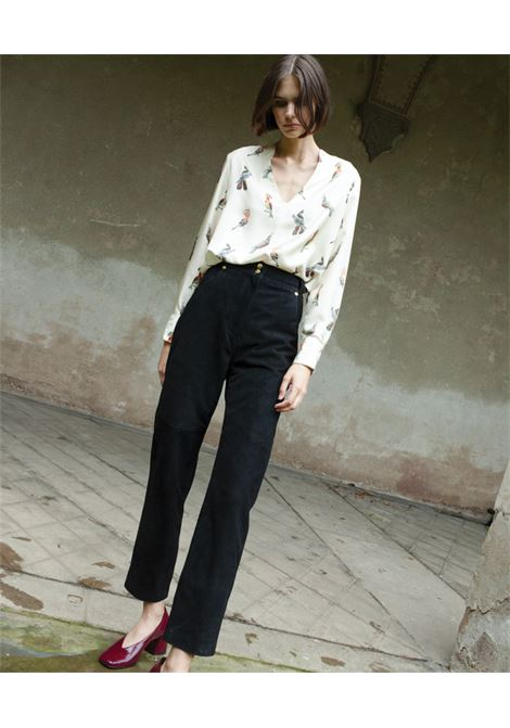 Acquamarina blouse in cream silk twill MOMONI | Blouse | MOBL0011045