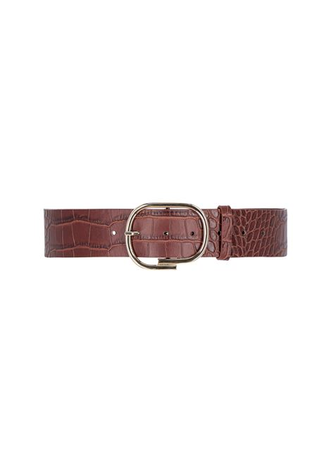 venere Brown crocodile printed leather belt MOMONI | Belt | MOBT0030618