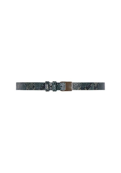 Green python print leather belt MOMONI | Belts | MOBT0040792