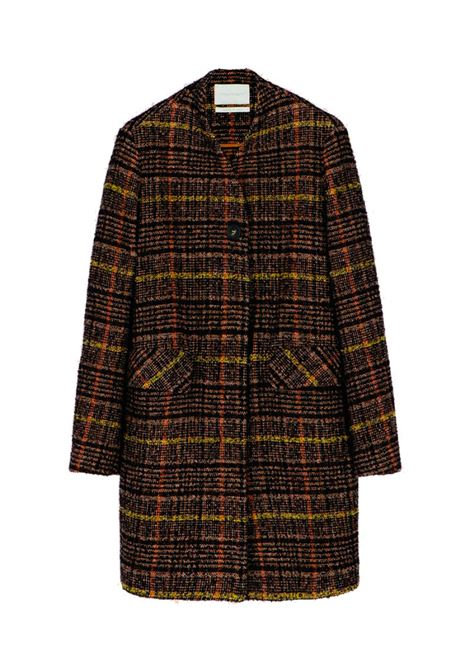 Caban coat in brown and yellow check wool MOMONI | Coat | MOCO0076013