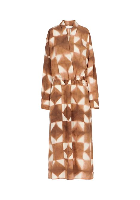 Ambra dress in brown / beige silk crepe de Chine MOMONI |  | MODR0096015