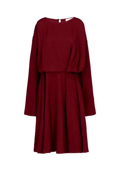 Plum silk blend crepe dress MOMONI | Dresses | MODR0110460