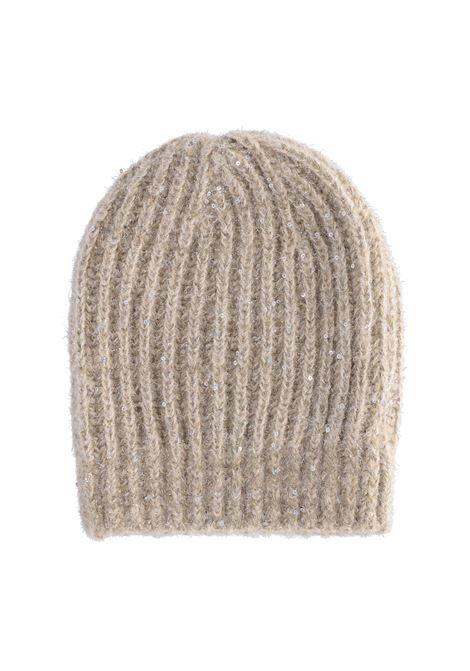 Cappello Ununu a coste con paillettes - panna MOMONI | Cappelli | MOHA0020040