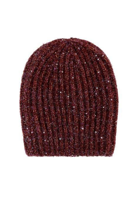Ununu ribbed hat with sequins - bordeaux MOMONI | Hats | MOHA0020380