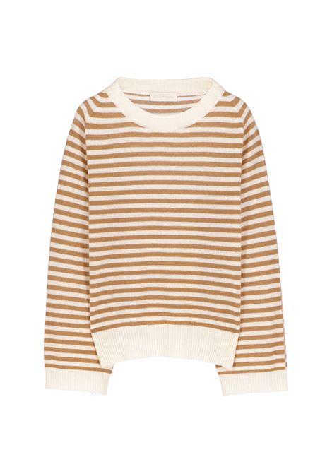 Odino sweater in striped wool and cashmere - beige MOMONI | Sweaters | MOKN0051082