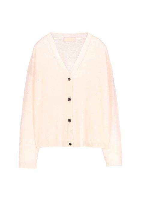 Cardigan largo in lana e cachmere panna MOMONI | Maglieria | MOKN0070040