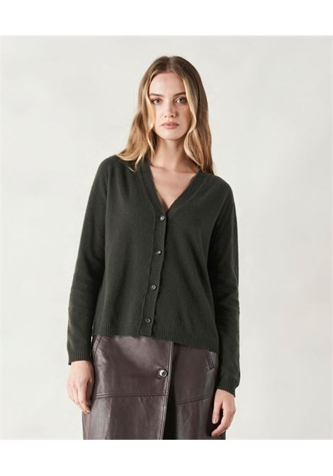 Wide cardigan in green wool and cachmere MOMONI | Knitwear | MOKN0070789