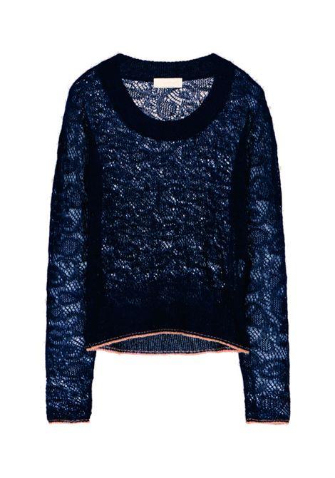 Maglia in punto pizzo in alpaca blu notte MOMONI | Maglie | MOKN0090870