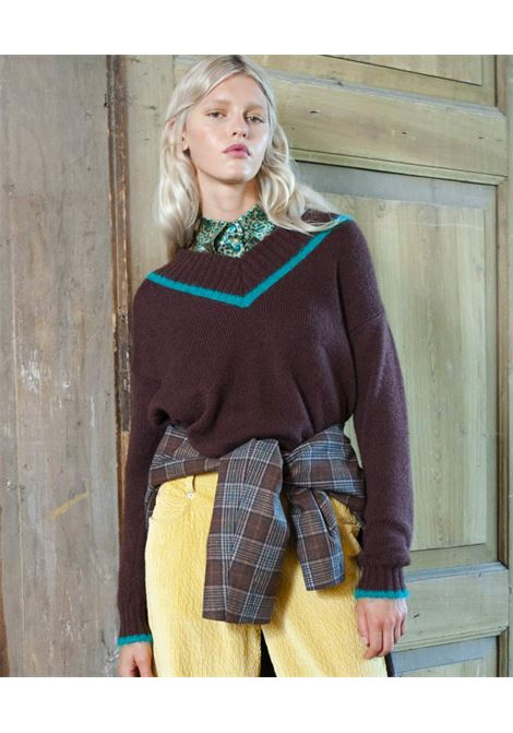 Brown mohair sweater with turquoise contrast MOMONI | Knitwear | MOKN0160618