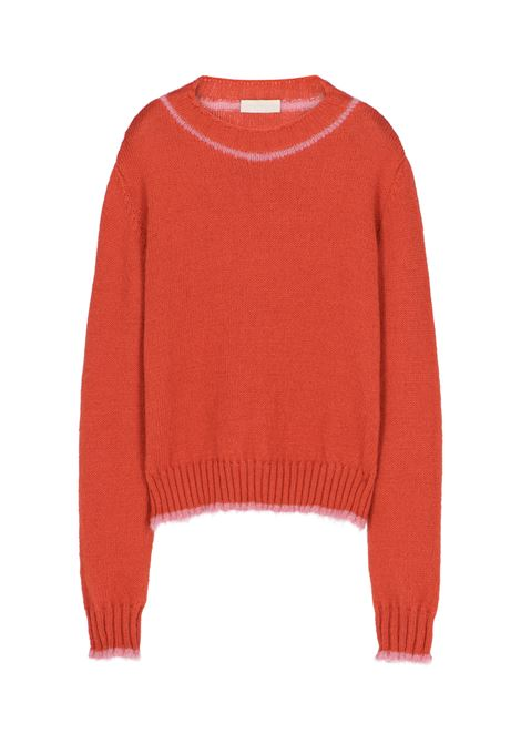 Pecunia sweater in mohair with contrast - red MOMONI | Sweaters | MOKN0170350