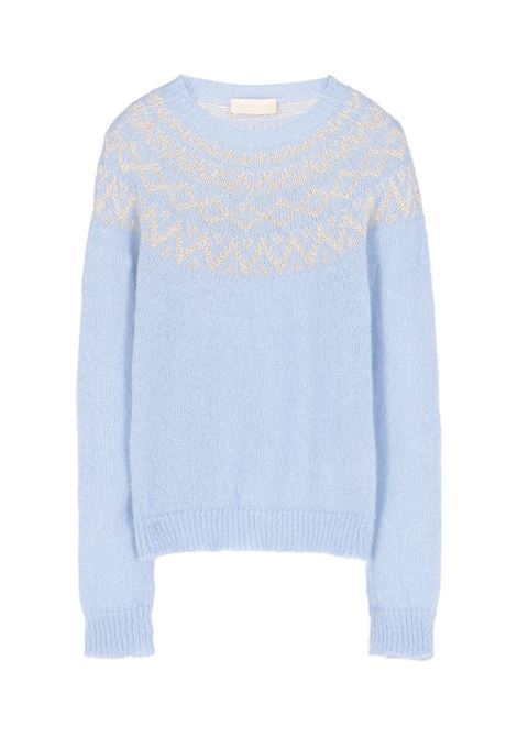 Bear sweater with lurex jacquard - Light blue MOMONI | Sweaters | MOKN0250834