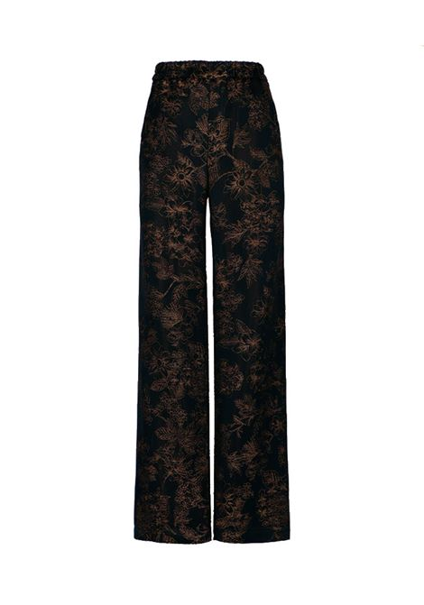 Dundra Pantalone in jacquard floreale nero MOMONI | Pantaloni | MOPA0040990